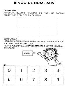 ATIVIDADE BINGO DE NUMERAIS para crianças