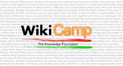 WiKiCamp in Chennai on 25th February,2007