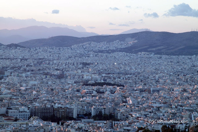 Twilight over Athens center