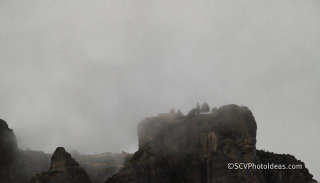 Meteora rocks in the clouds I