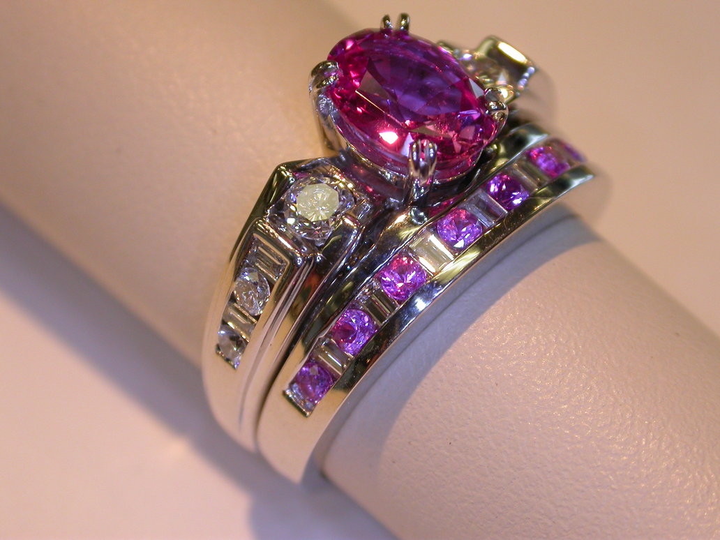Pink Saphire Wedding Rings 021 - Pink Saphire Wedding Rings