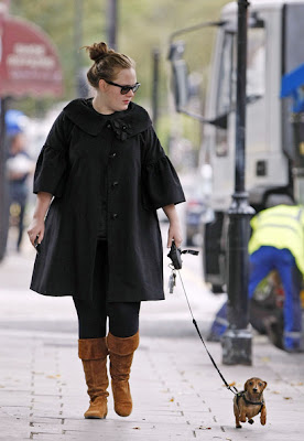 Adele walking her doggie