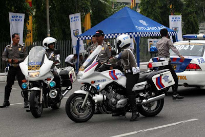 Riau Police Officers is in Patrol