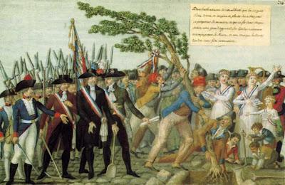 Plantation d'un arbre de la liberté Gouache des frère Le Sueur. 1792