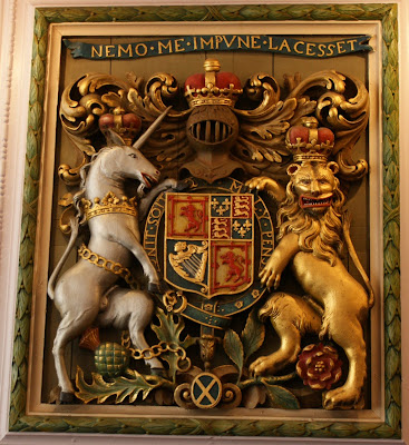 Photograph of the town coat of arms in the Burgh Chambers, Burntisland,