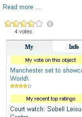 Screengrab of ratings widget
