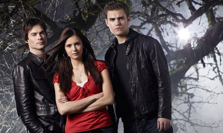 Ian Somerhalder (Damon Salvatore), Nina Dobrev ( Elena Gilbert), and Paul Wesley (Stefan Salvatore)
