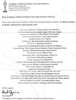Lista dos vencedores do oscar
