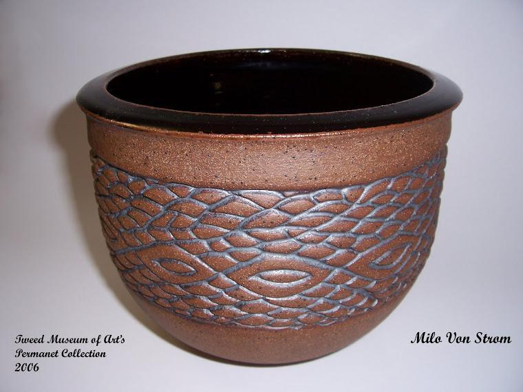Carved Stoneware Bowl w/Temmoko Glaze