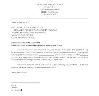 Contoh Surat Perniagaan