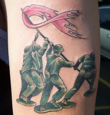 Artistic ink toy soldiers for Iwo jima tattoo