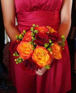 Closeup bridesmaid's bouquet