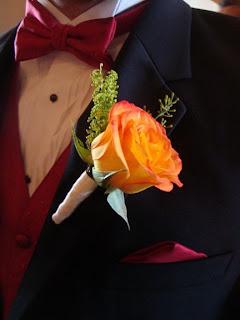 Sunset Rose boutonniere