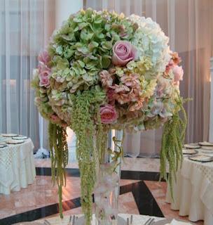 Hydrangeas Roses Round Centerpiece