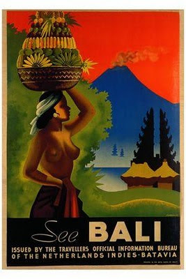 Bali Tourism Poster issued by the travelers official information bureau of the Netherlands Indies Batavia