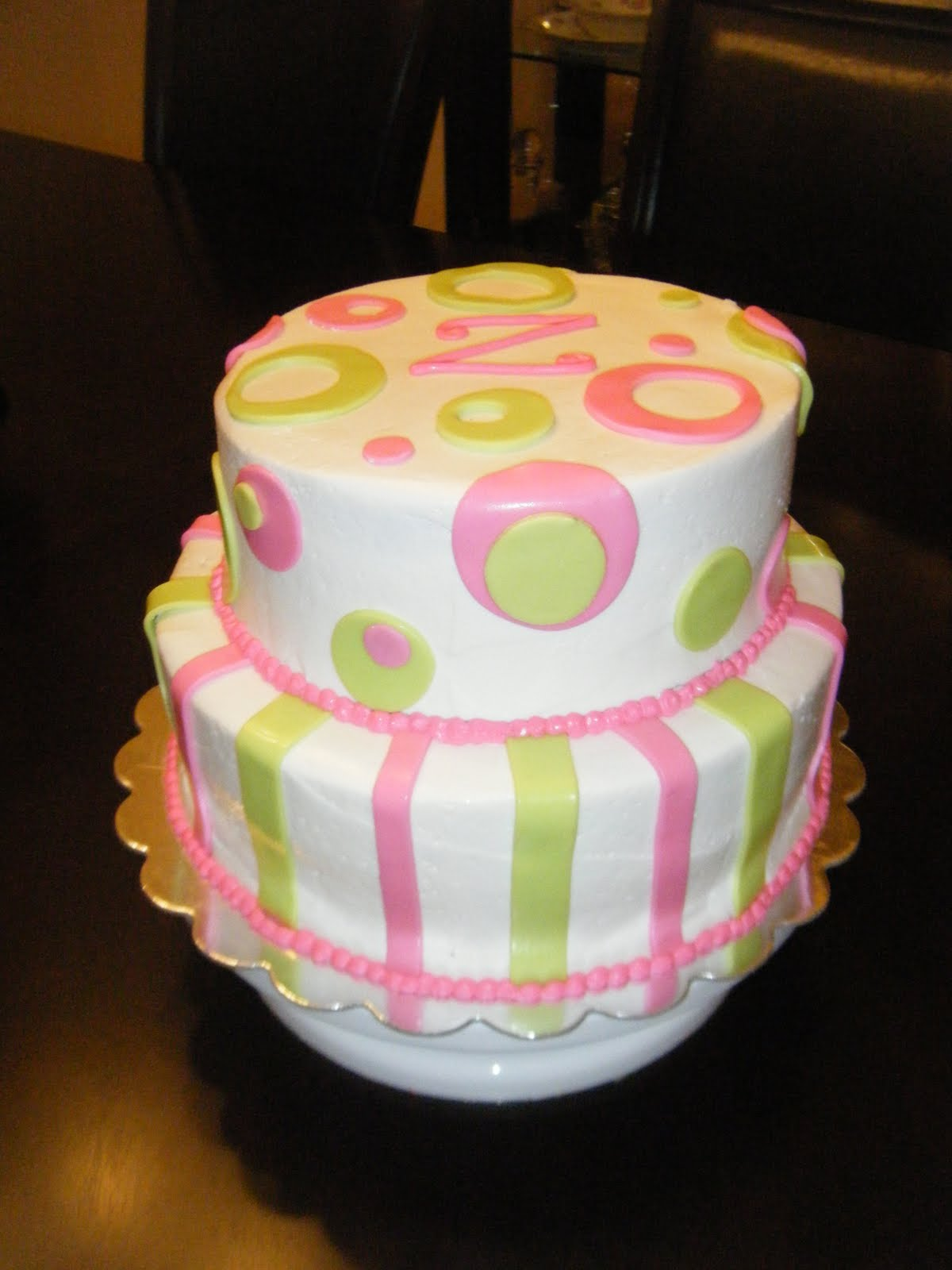 Jessica s Cakealicious Cakes Pink and Lime Green Baby Shower Cake