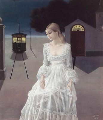 Paul Delvaux  -  La robe de mariée   -  1976