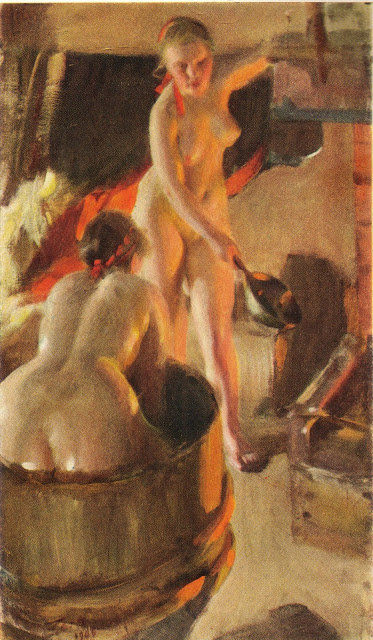 Anders Zorn  -Girls from Dalarna in the sauna