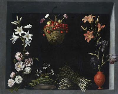 SANCHEZ COTÁN, Juan - Bodegón con flores, hortalizas y un cesto de cerezas