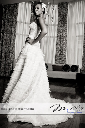 Bridal portrait for her Charlotte wedding reception.  Photographer - M. Clay Photography