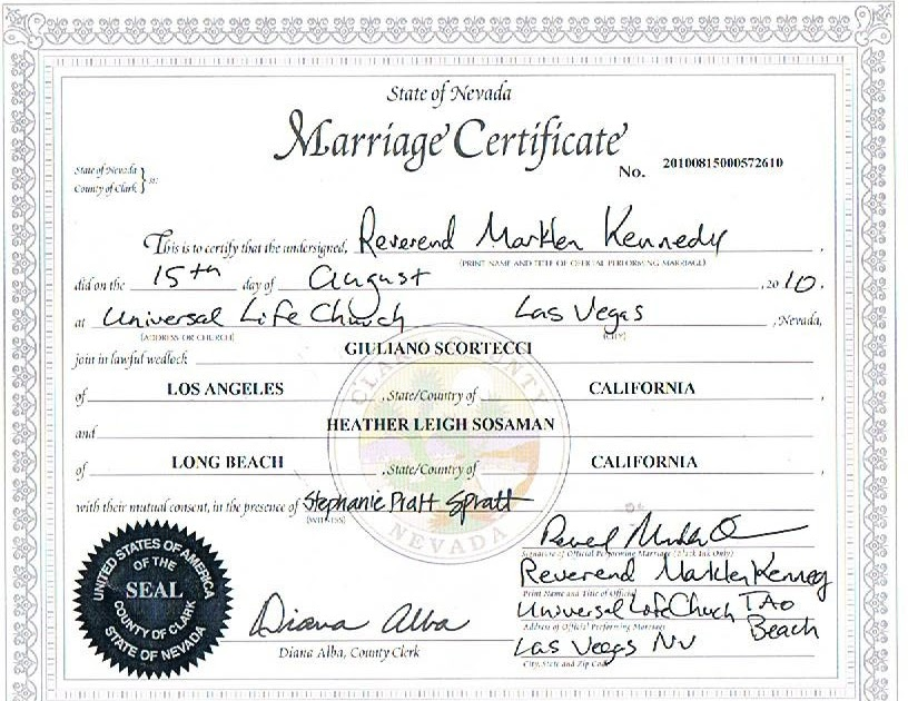 Pehampav las vegas marriage certificate image for Gay marriage certificate template
