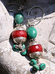 Ruby and Turquoise Earrings