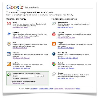 Google Non Profits Products
