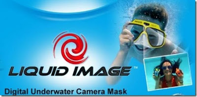 Digital underwater camera mask liquid image