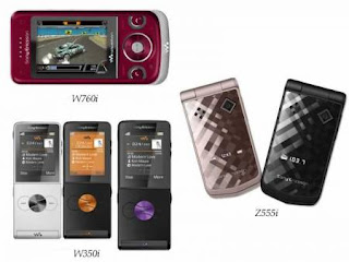 Sony Ericsson W760i, Z555i, W350i mobile phones