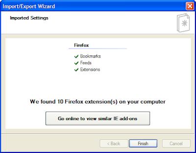 IE 8.1 firefox import process
