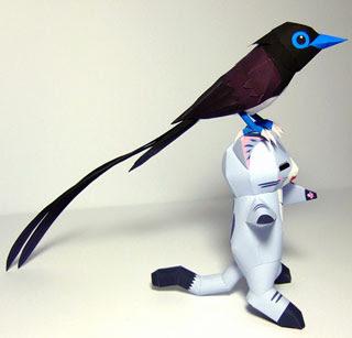 Japanese Paradise-flycatcher Papercraft