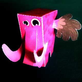 Pink Mammuthus Paper Toy