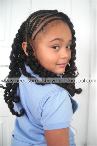 side cornrows with braid- natural