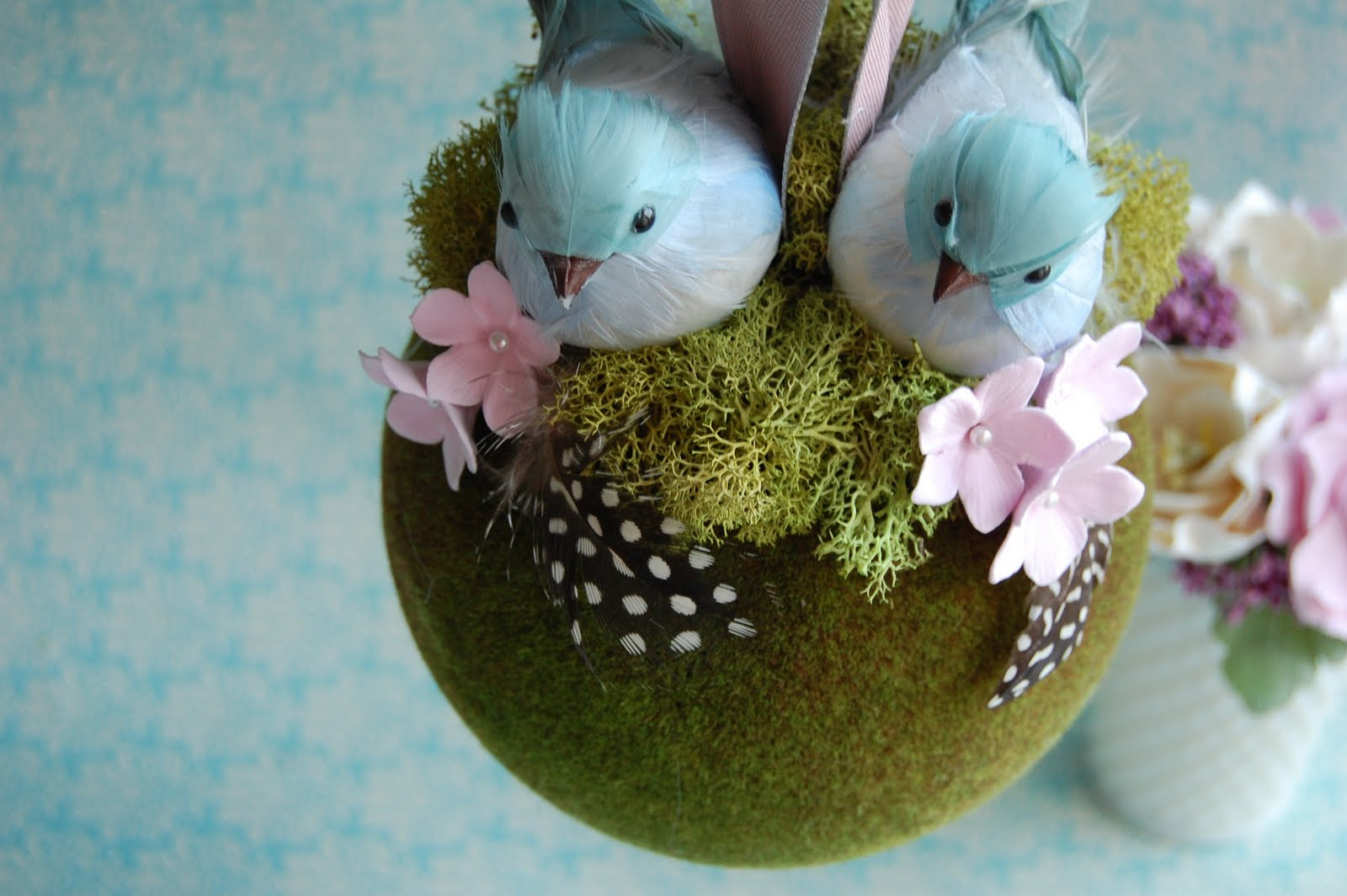 Pomander Kissing Ball Flower Girl Moss Handmade Paper Flowers By