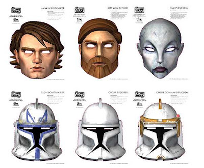 Star Wars Clone Wars masks. Download them here.