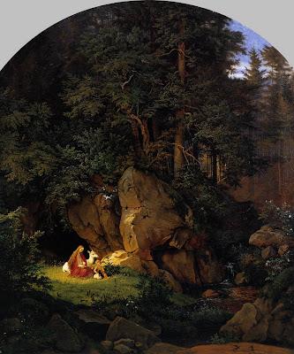 Adrian Ludwig Richter Genevieve Genovefa Brabant Genoveva in der Waldeinsamkeit Genoveva in the Forest Seclusion