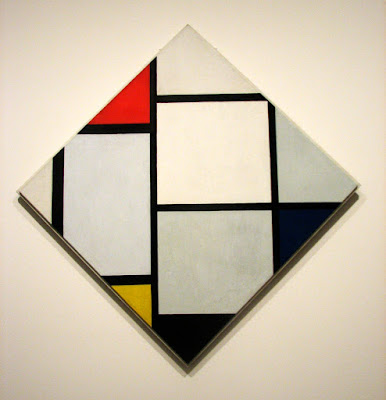 Mondrian. Tableau No. IV; Lozenge Compostion with Red, Gray, Blue, Yellow and Black gallery wall