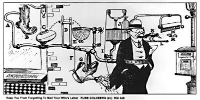 Rube Goldberg machine. wife letter