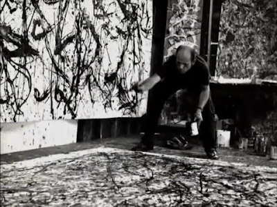 Jackson Pollock photo painting in action