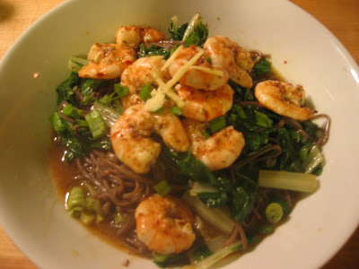 Joy is Cooking: Swiss chard with shrimp and soba noodles