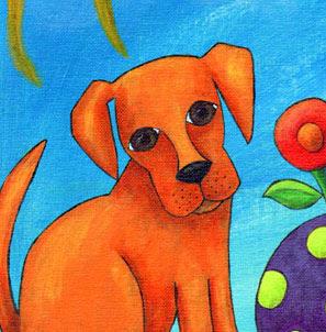 puppy painting acrylic original