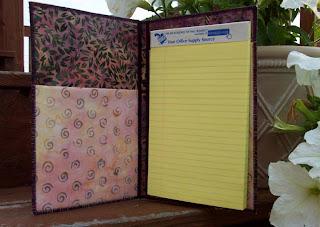 fabric notepad folder inside