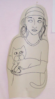 sketch drawing girl cat