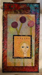 art quilt fiber paper face painting original collage