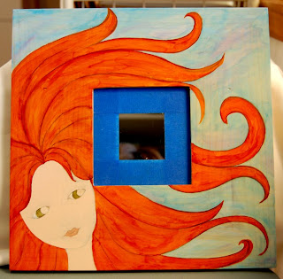 painting mirror frame face girl