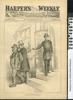 Thomas Nast cartoon of a policeman sending Tammany Hall and Irving Hall away from a government building while Theodore Roosevelt watches from a window