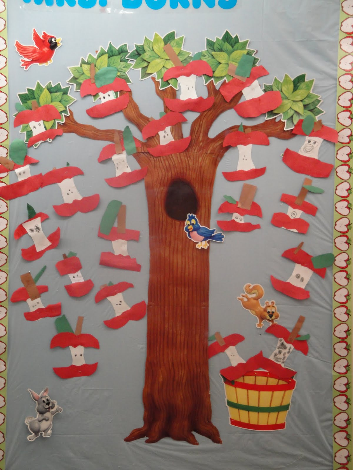 Mrs burns 39 kindergarten hallway bulletin boards for Apple tree classroom decoration
