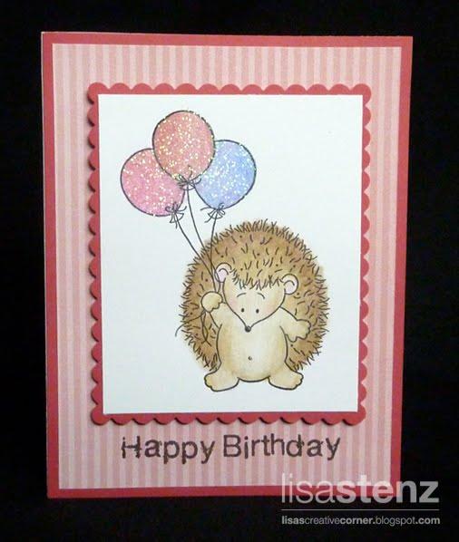 Lisas Creative Corner Hedgehog Birthday Card