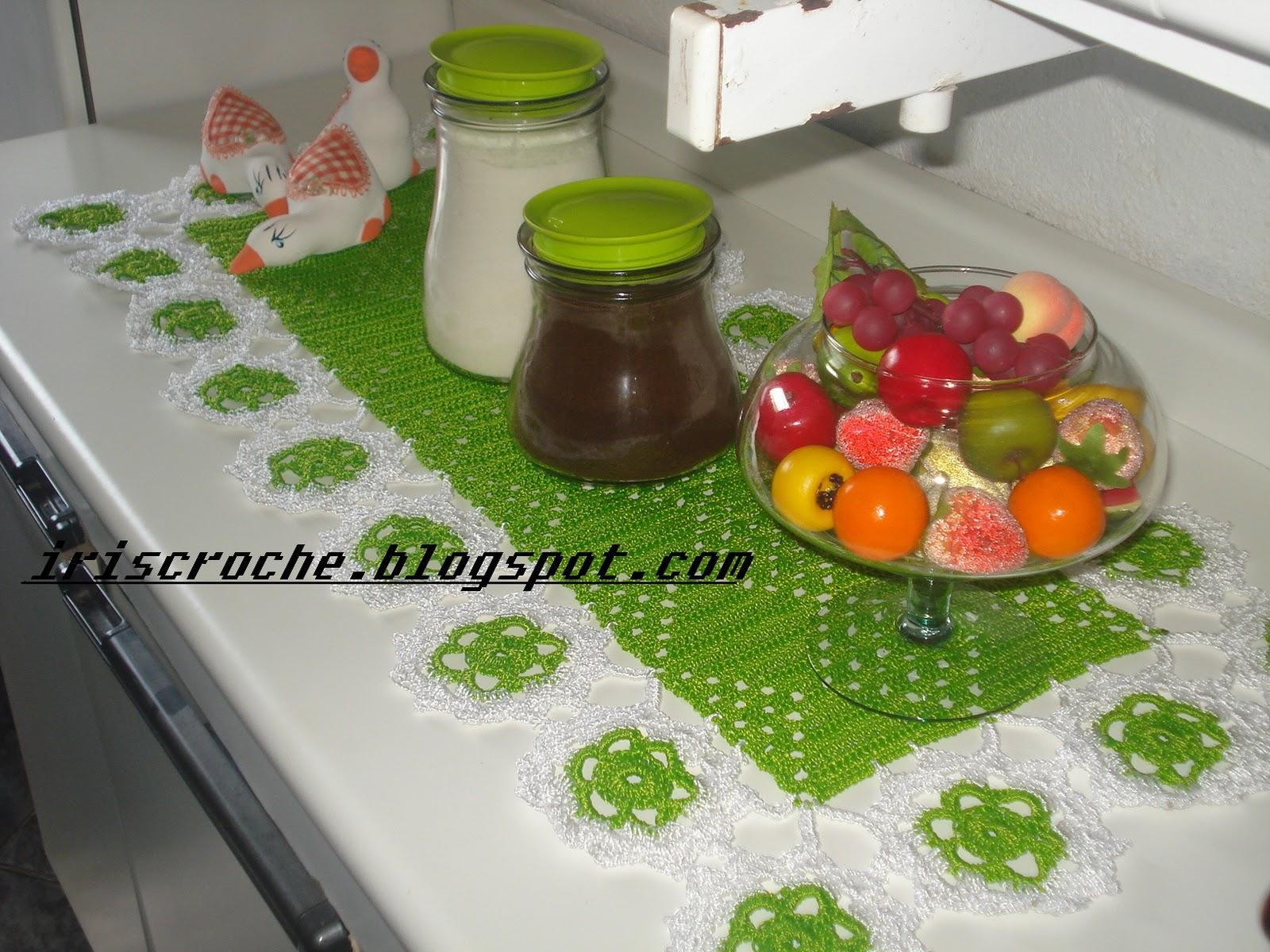 Iris Croch Jogo Cozinha Verde Branco