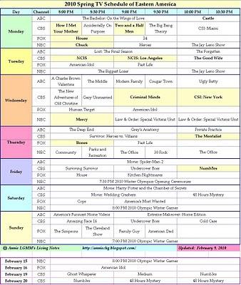 2010 Spring TV Schedule of Eastern America